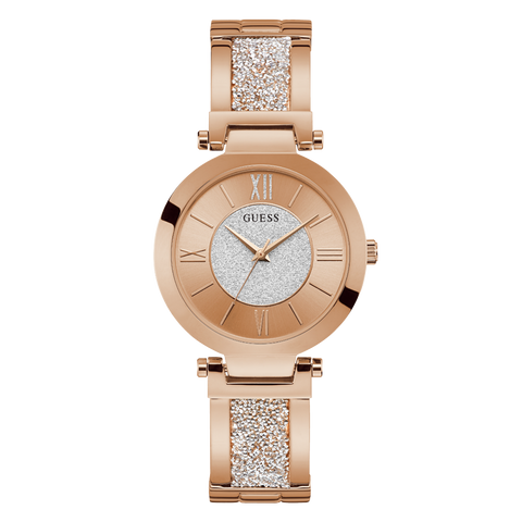 Guess - U1288L3 - Women's Rose Gold Analog Watch with Swarovski® Crystals | Guess - U1288L3 -  Montre au ton rose doré analogique avec cristaux Swarovski®