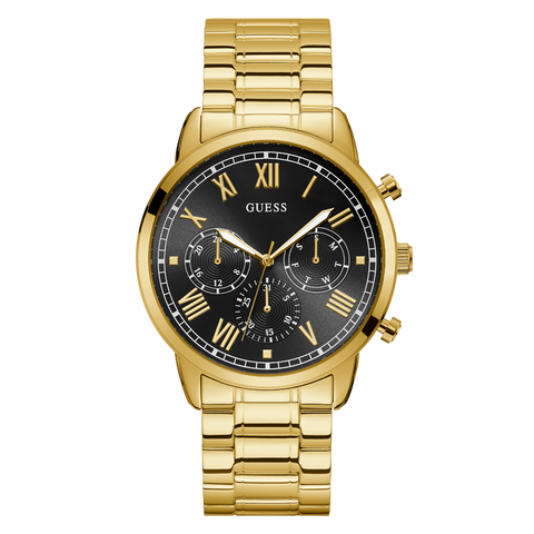 Guess - U1309G2 - Men's Gold Tone Black Dial Watch | Guess - U1309G2 - Montre au ton doré avec un cadran noir