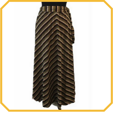 Vintage 70s Chevron Metallic Maxi Skirt - One Size