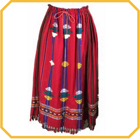Guatemalan Red Embroidered Maxi Skirt - One Size