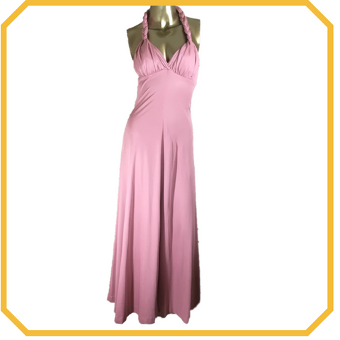 Vintage 70s Dusty Rose Halter Maxi Dress - Size S