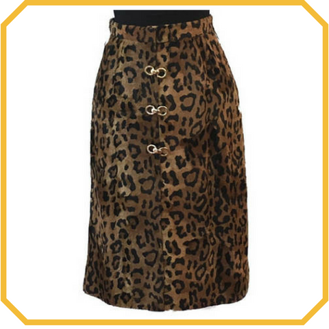 Vintage Faux Leopard Fur Pencil Skirt - Size S/M
