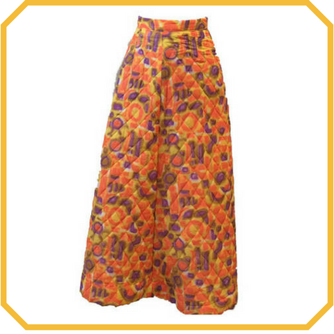 Vintage 70s Orange Quilted Tie Dye Maxi Skirt - Size S