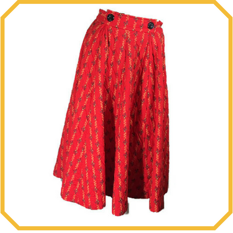 Vintage 50s Red Floral Print Quilted Circle Skirt - Size S