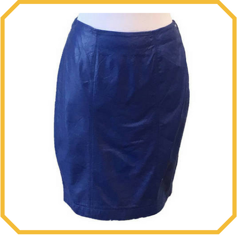 Vintage 80s Electric Blue Soft Leather Skirt - Size M