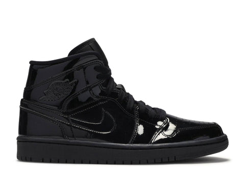 "Air Jordan 1 Mid WMNS "" Triple black Patent leather"" BQ6472 002"