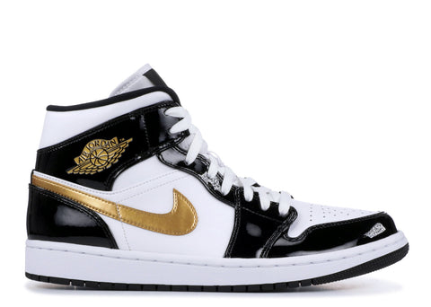 "Air Jordan 1 Mid ""Patent Black White Gold""  852542 007"