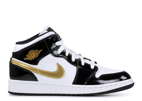 "Air Jordan 1 Mid GS ""Patent Black White Gold""  BQ6931 007"