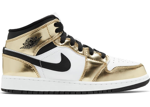 "Air Jordan 1 MID GS ""GOLD BLACK WHITE"" DC1420 700"