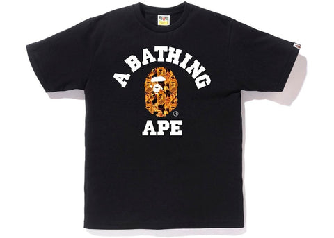 "BAPE ""FLAME"" College Tee  Black"