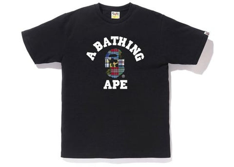 "BAPE ""PATCH WORK"" College Tee  WHITE"