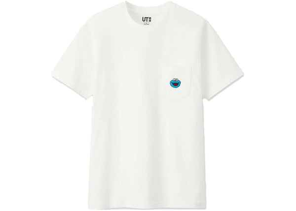 "KAWS x Uniqlo x Sesame Street ""Cookie Monster Pocket tee White"""