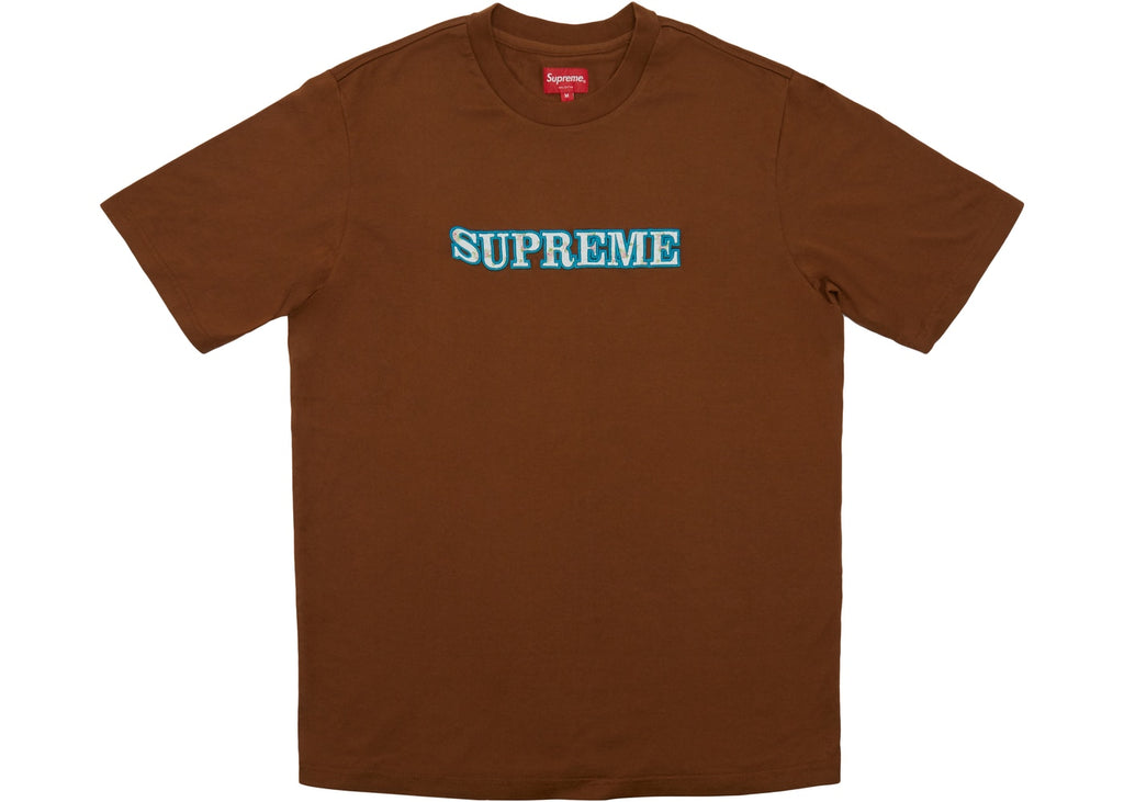 Supreme Floral Logo Tee Brown