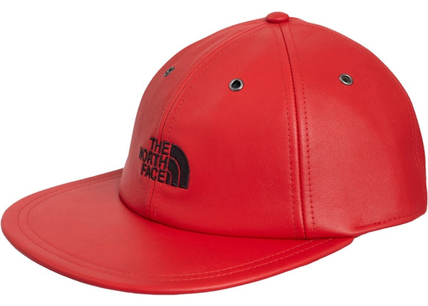Supreme X the north face leather 6 panel hat red