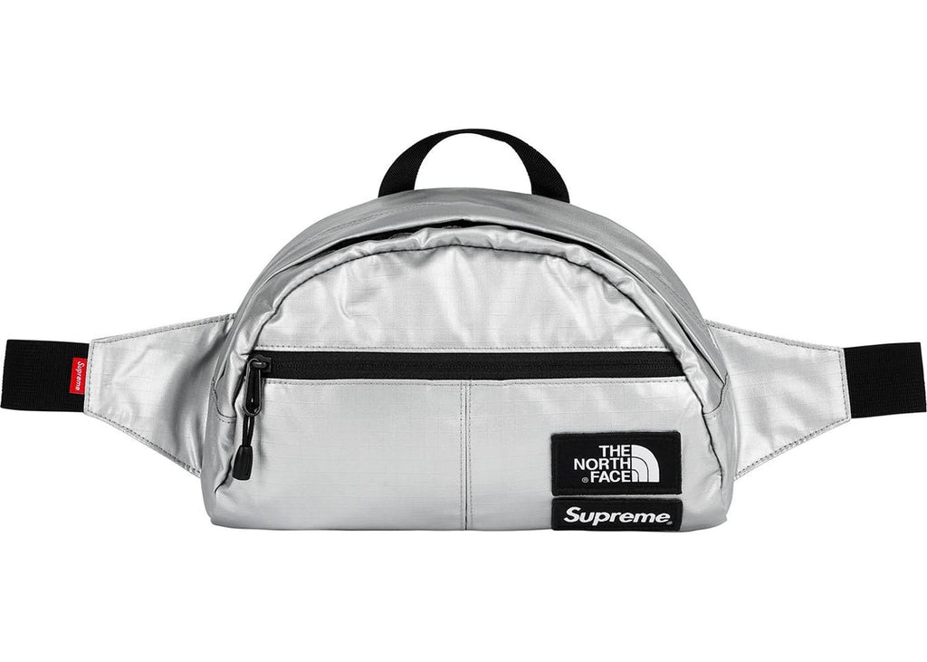 Supreme x The North Face S/S '18 Metallic Roo II Lumbar Pack Silver