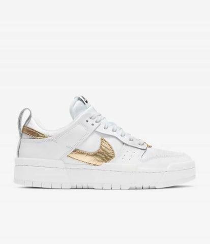 "NIKE DUNK LOW DISRUPT W ""WHITE METALLIC GOLD"" DD9676 100"