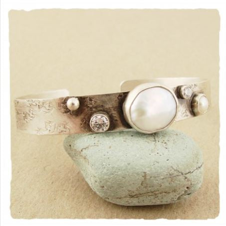 Sterling Silver Oxidized Cuff with Pearl