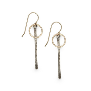 Sterling Silver & Gold-Filled Circle Drop Earrings