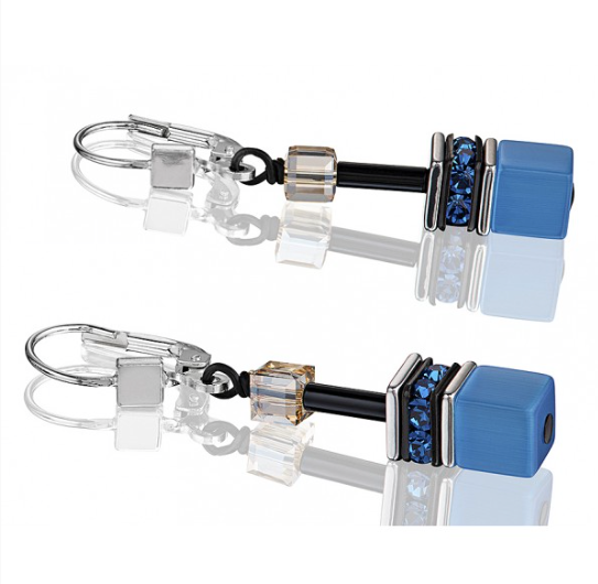 Coeur de Lion Blue Swarovski® Cubes Earrings