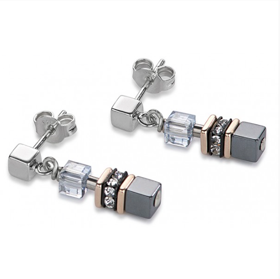 Glass Cube Hematite Swarovski® Cubes Earrings
