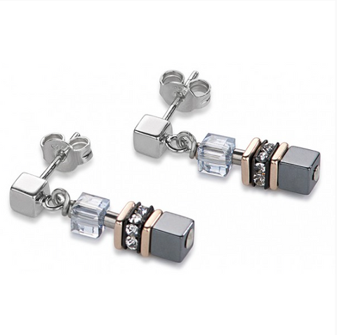Coeur de Lion Hematite Swarovski® Cubes Earrings