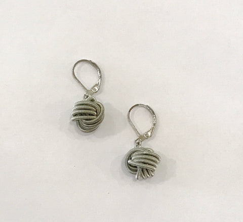 Mixed Metal Piano Wire Earrings - Silver Knot