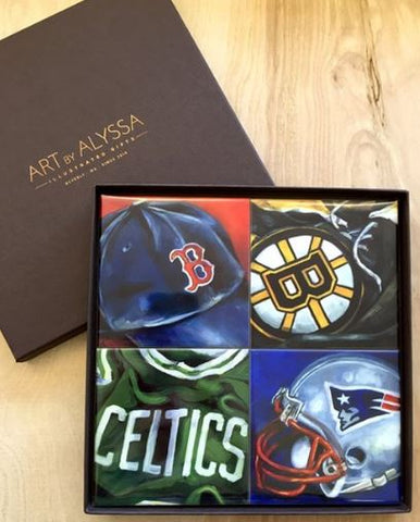 Art by Alyssa Coaster Gift Set - Boston Sports