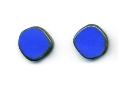 Glass Czech Tile Full Circle Small Earring Post- Periwinkle