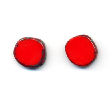 Glass Czech Tile Full Circle Small Earring Post- Red