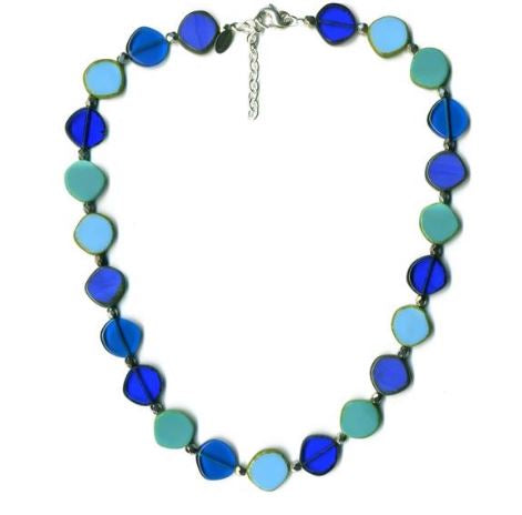Glass Czech Tile Full Circle Small Necklace-Ocean