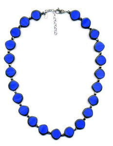 Glass Czech Tile Full Circle Small Necklace- Periwinkle