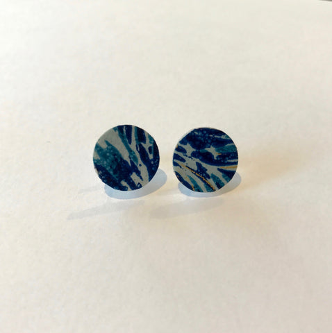 Blue Mum Post Earrings