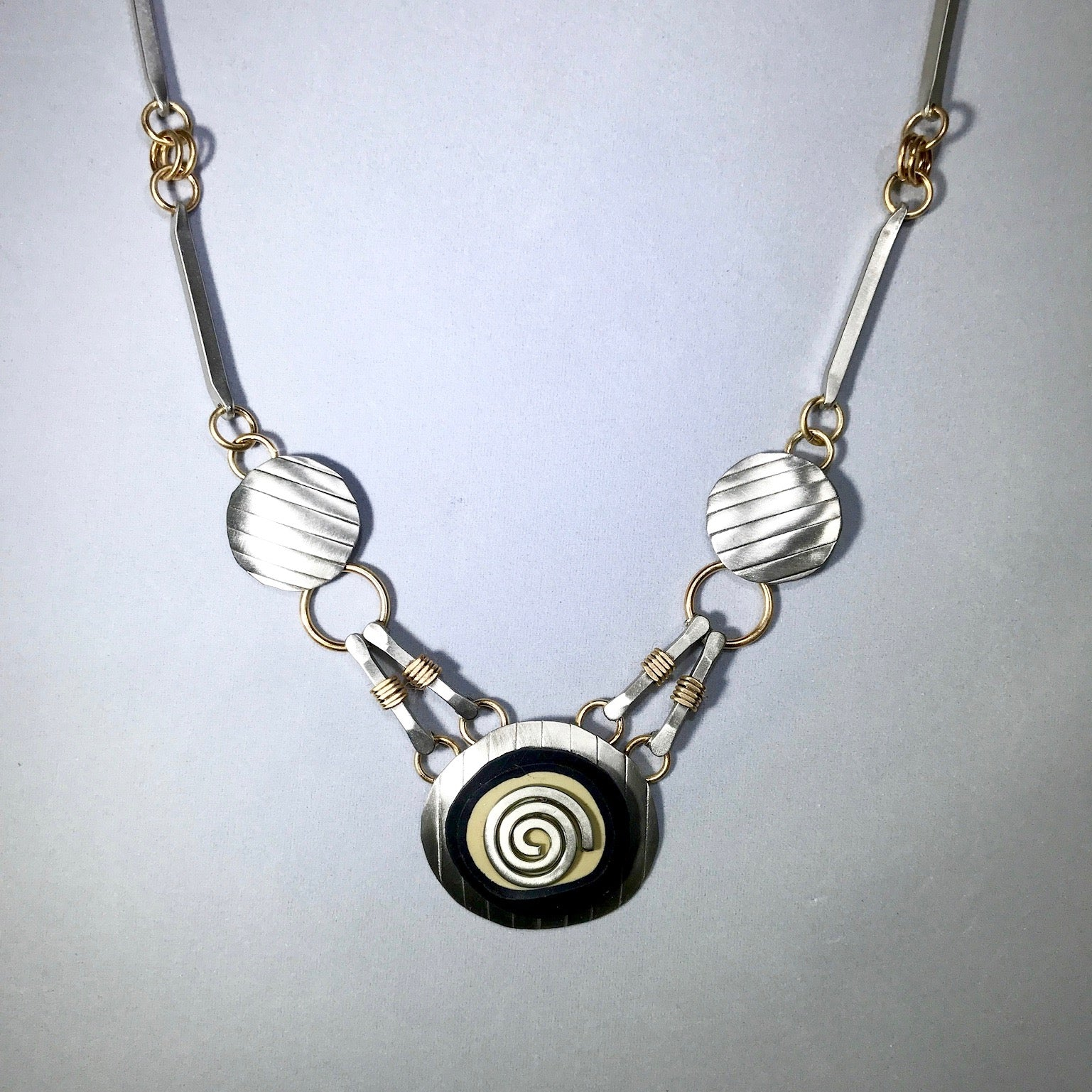 Mixed Metal Silver Tapestry Necklace