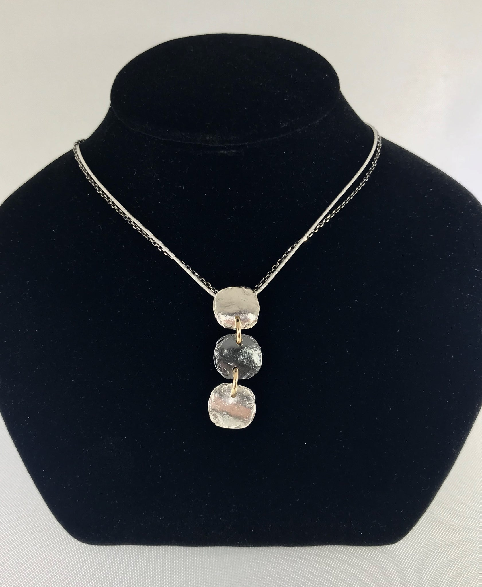 Sterling Silver Triple Disc Necklace