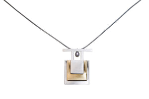 Sterling Silver Brushed Square Necklace