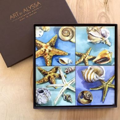 Coaster Gift Set - Sea Shells and Glass