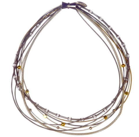 Mixed Metal Piano Wire Multi-Textured Necklace