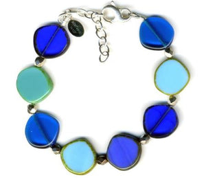 Glass Czech Tile Full Circle Small Bracelet- Ocean