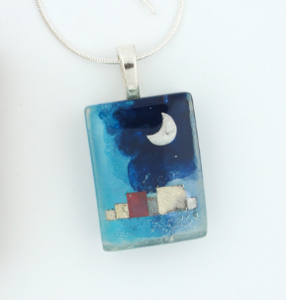 Glass Charm Night Village Pendant