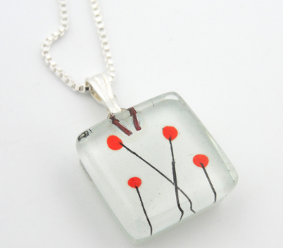 Glass Charm Poppy Necklace