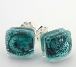Glass Charm Turquoise Stud Earrings