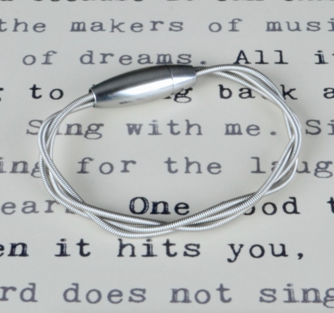 Mixed Metal Guitar String Bass Bracelet