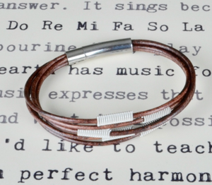 Mixed Metal Guitar String Arpeggio Leather Bracelet