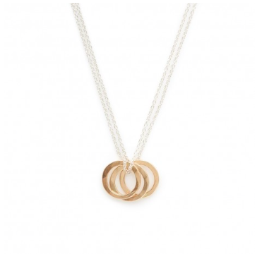 Sterling Silver & Gold-FilledTriple Ring Necklace