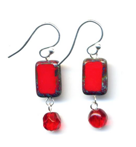 Glass Czech Tile Crystal Dangle Earrings - Red