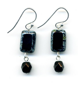 Glass Czech Tile Crystal Dangle Earrings - Black