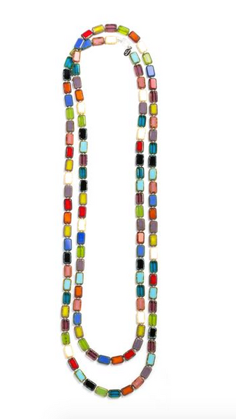 "Glass Czech Tile 60"" Trilogy Necklace Multi"