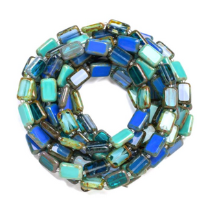 "Glass Czech Tile 60"" Trilogy Necklace Turquoise"