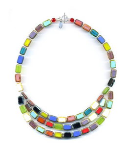 Glass Czech Tile Three Strand Trilogy Necklace Multi