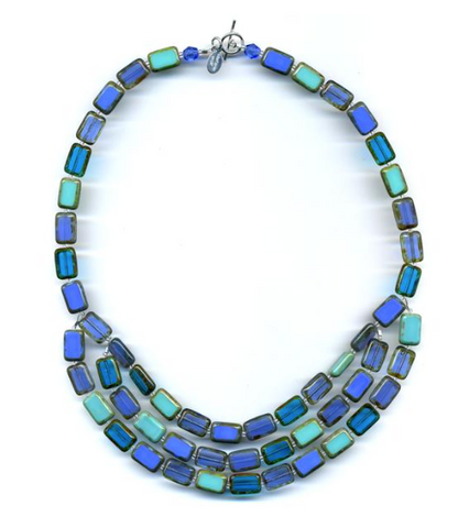 Stefanie Wolf Three Strand Trilogy Necklace Turquoise